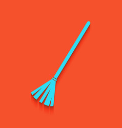 Sweeping broom sign whitish icon on brick vector