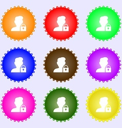 user is blocked icon sign Big set of colorful vector image