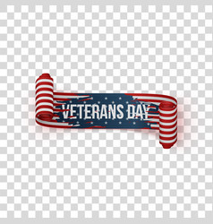 Veterans day realistic vintage textile ribbon vector