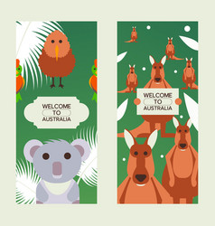 welcome to australia vertical banners with cute vector image