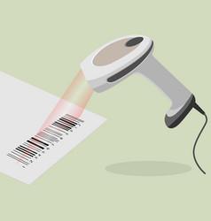 White handheld barcode scanner scanning bar code vector