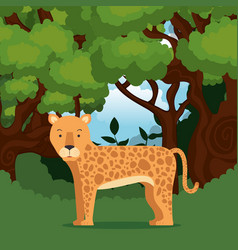 Wild cheetah in the jungle scene vector