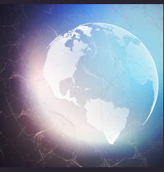 World globe on dark background with connecting vector