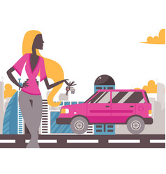 young woman holding keys from new car vector image