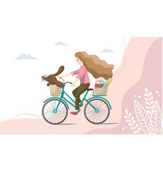 young woman is riding on bicycles with a dog on vector image