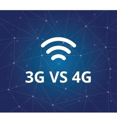3g vs 4g with wifi signal and dot blue as vector image