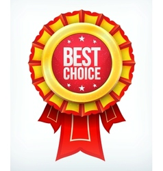 best choice gold red label with ribbons vector image vector image
