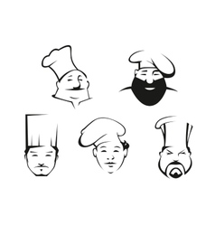 Cook and chef heads in toques vector