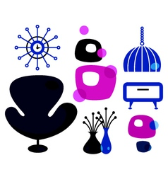 Funky retro furniture set isolated on white vector image vector image