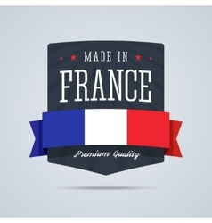 Made in France badge with ribbon and flag vector image