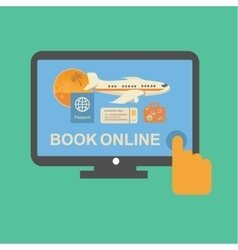Online travel tickets booking service with plane vector image vector image