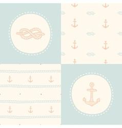 Retro anchor pattern set vector image vector image