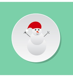 Snowman icon White round button vector image