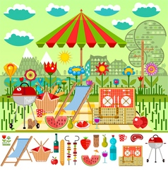 Summer picnic in the meadow with mountain views vector image vector image