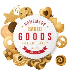 Baked goods label with type design vector image