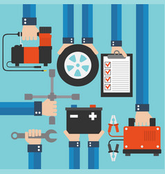 car service and repairing equipment concept design vector image