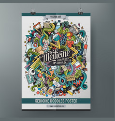 cartoon hand drawn doodles medical poster template vector image vector image