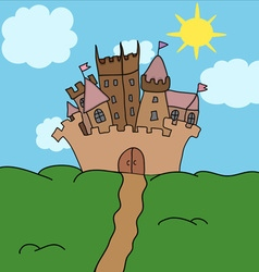 Castle on the hill art vector image vector image