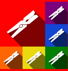 clothes peg sign set of icons with flat vector image