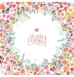Easter frame with contour flowers and eggs vector image vector image