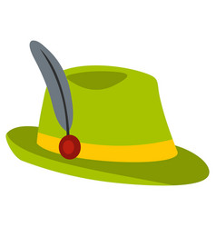 green hat with feather icon flat style vector image