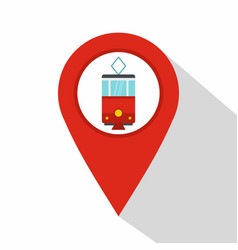 red map pointer with tram symbol icon flat style vector image