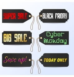 Set black friday cyber monday tagline sales tags vector