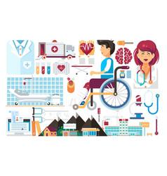 set isolated design element medicine health vector image