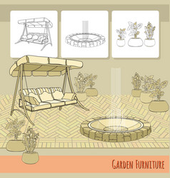 swing paving fountain and flowers in pot garden vector image vector image