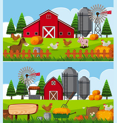 Two scenes of farm with many animals vector