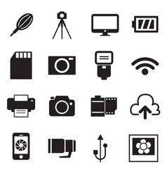 camera icons and camera accessories icons vector image