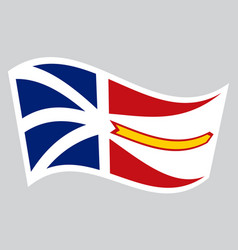 newfoundland and labrador flag wavy gray backdrop vector image