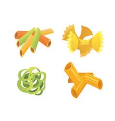 set italian pasta in cartoon style vector image