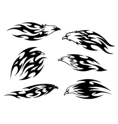 Set of stylized black and white flying eagles vector image vector image