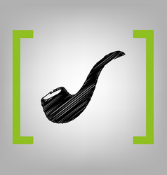 smoke pipe sign black scribble icon in vector image vector image