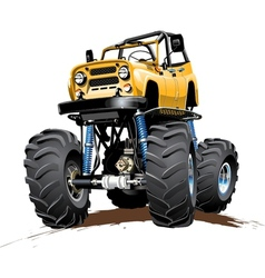 Cartoon monster truck one-click repaint vector