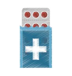 Drawing medical pills pharmacy vector