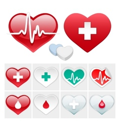 Medical Set of Hearts Icons vector image