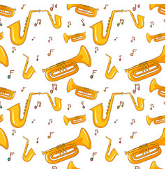seamless background with saxophone and music notes vector image vector image