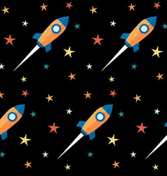 Seamless pattern Rockets and stars over black vector image vector image