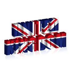 3d uk text or background united kingdom flag vector image