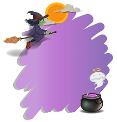 A witch riding on a broom and an empty violet vector