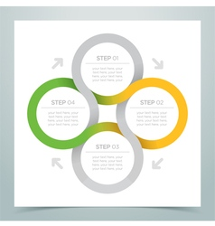 Abstract 4 circle ribbon infographic 2 vector