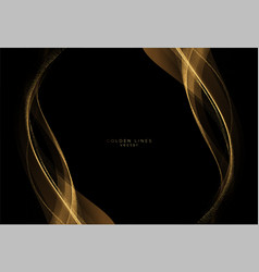 Abstract shiny color gold wave luxury background vector