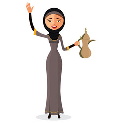 Arab woman holding an coffee pot and waving vector