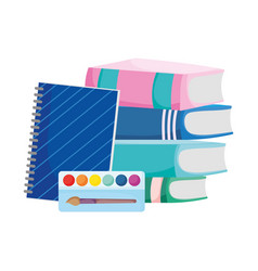 Back to school pile books notebook and palette vector