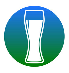 beer glass sign white icon in bluish vector image