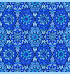 Blue background tile flower rhombus vector