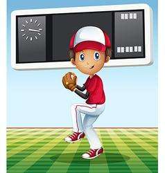 boy playing baseball in field vector image