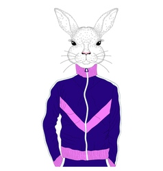 Brutal rabbit boy in blue sport suit 90s Hand vector
